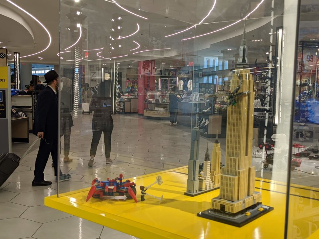 Families will appreciate the LEGO Empire State Building at the shops on level 4 of LaGuardia Airport Terminal B.