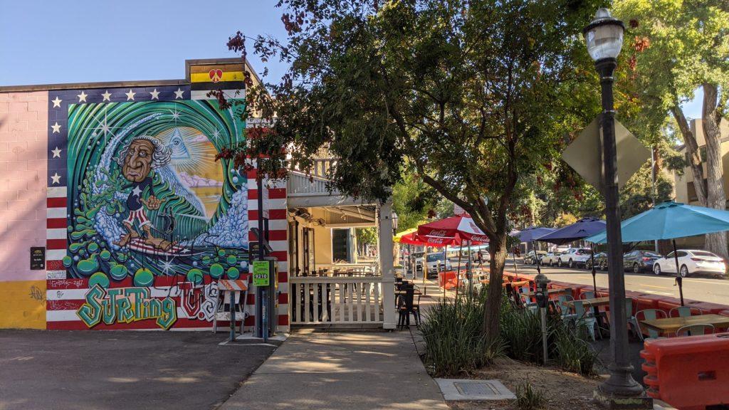 Murals and restaurants along L Street, Sacramento