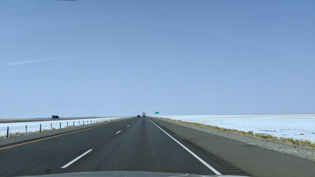 Utah's Great Salt Lake surrounds Interstate-80.