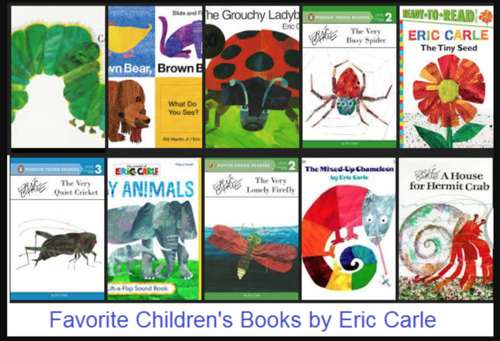Eric Carle book covers for famous childrens books.