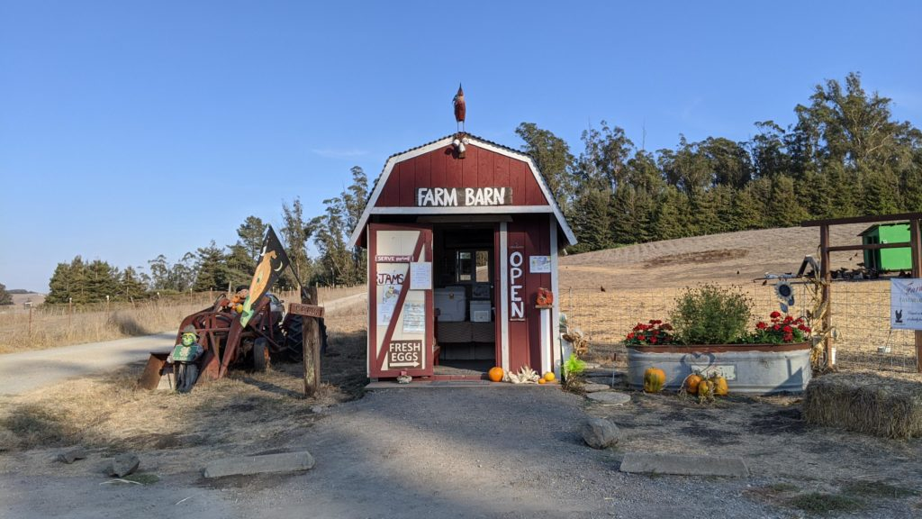 The honor farm stand at Farm Barn, outside Lagunitas.