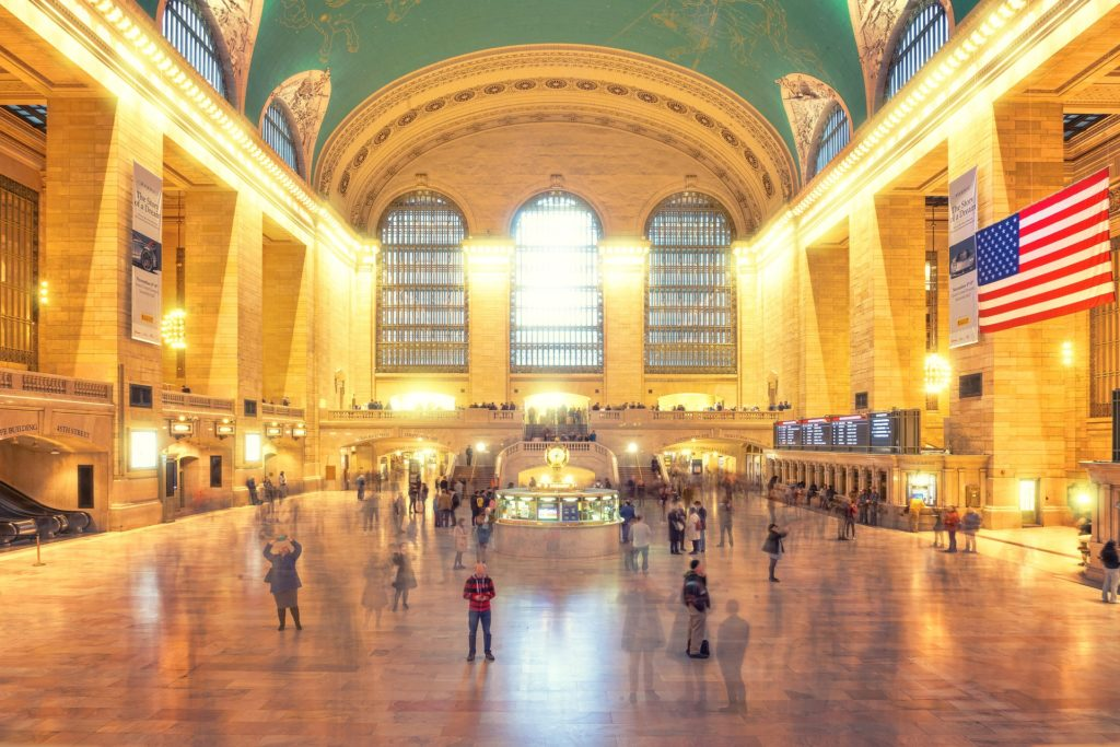 Great Hall at Grand Central Terminal remains quiet and a beautiful architectural landmark.