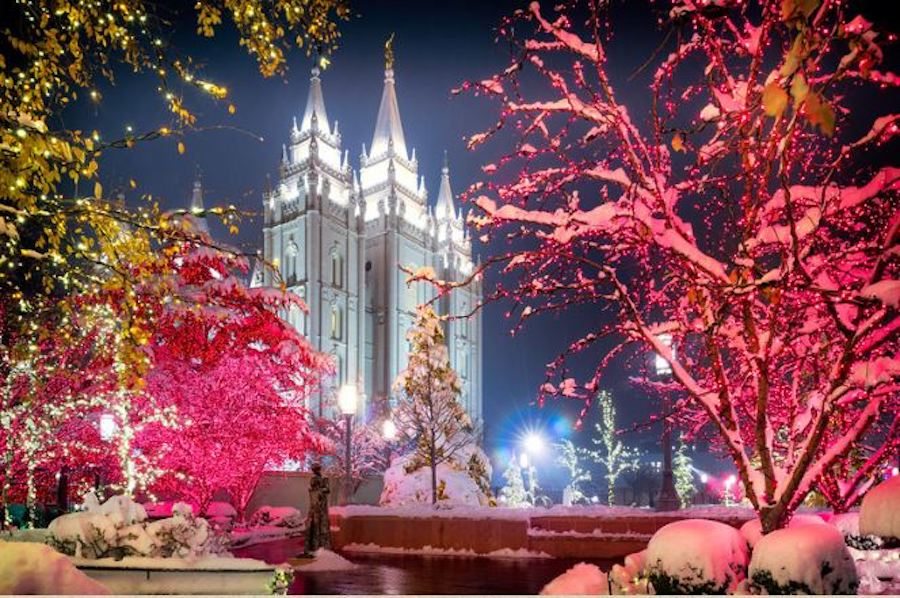 Temple in Park City Utah is illuminated for the holidays.