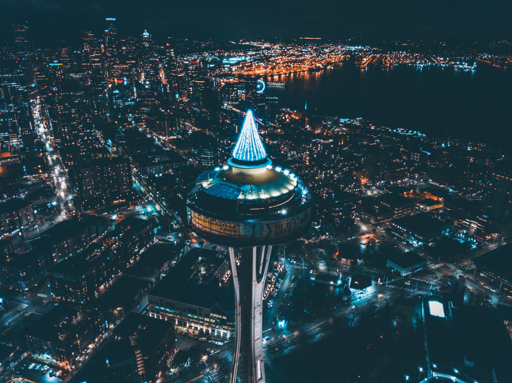 Seattle Space Needle and city illuminated for the holidays.