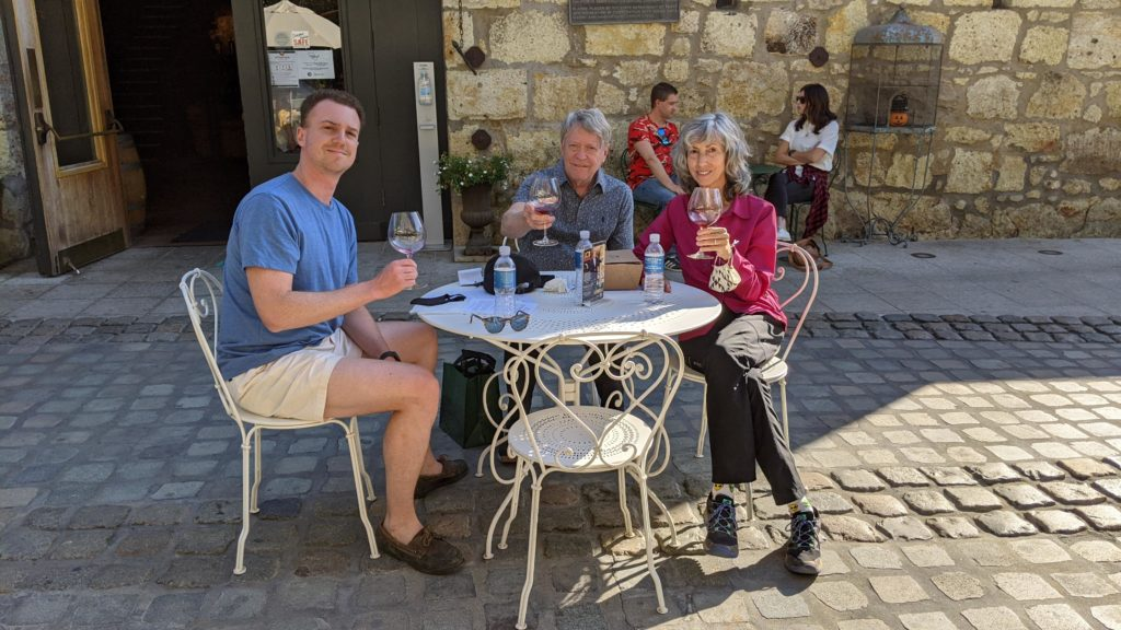 Three people tasting wine at Buena Vista Winery, Sonoma.