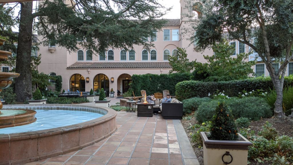 Entry and front courtyard of Fairmont Sonoma Mission Inn.