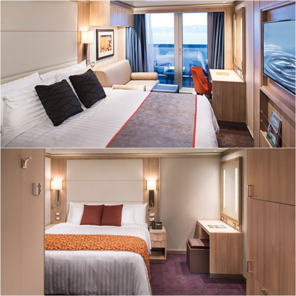 A verandah stateroom and an interior one on the Holland America ship, Koningsdam.
