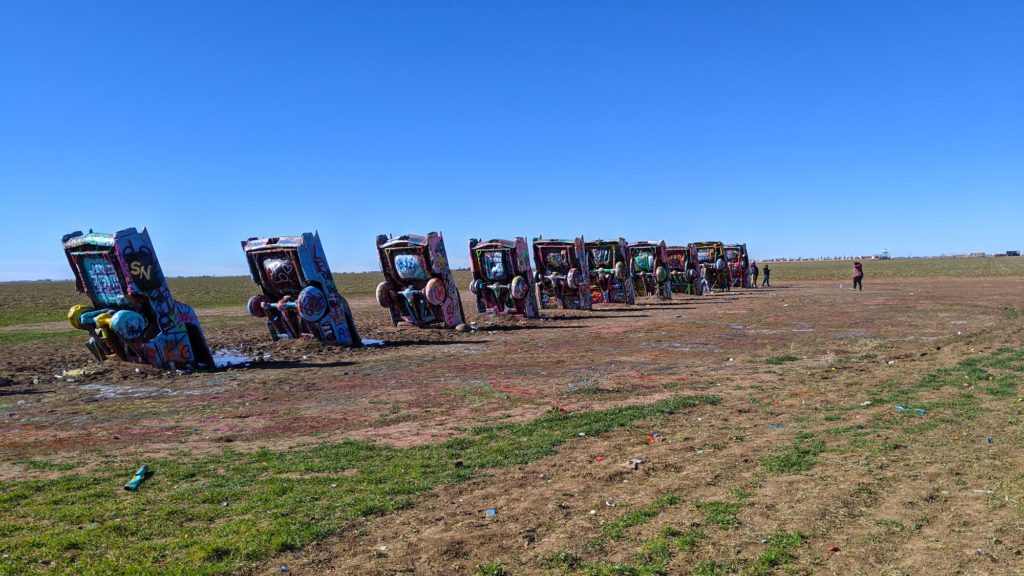 Cadillac Ranch, a road trip icon of 10 buried vintage Cadillac cars.