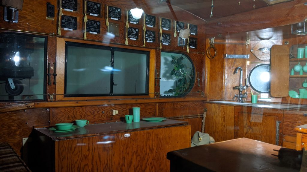 The interior of a 1935 Airstream Torpedo motorhome, one of the earliest in existence, at Sisemore RV Museum.