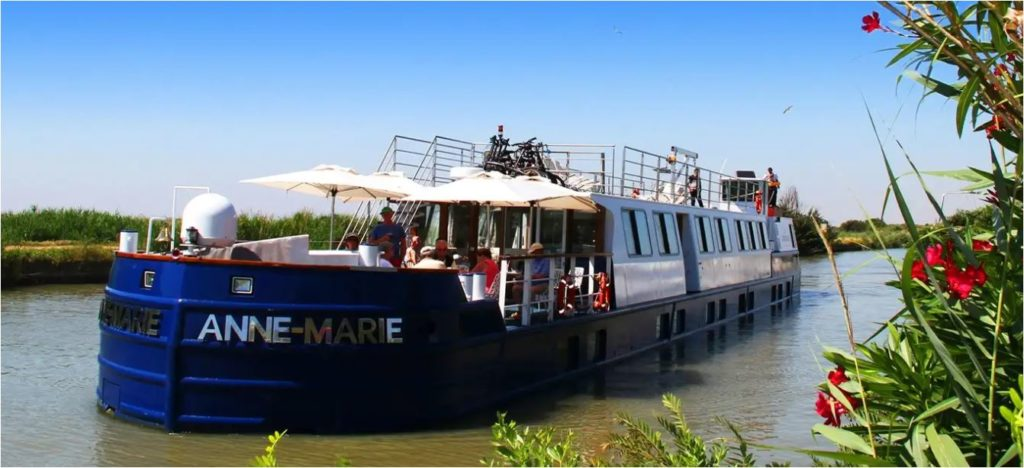 French barge Anne-Marie 2 on a French canal.