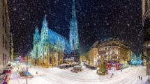 St. Stephens Square in Vienna, Austria at night, in a snowstorm.