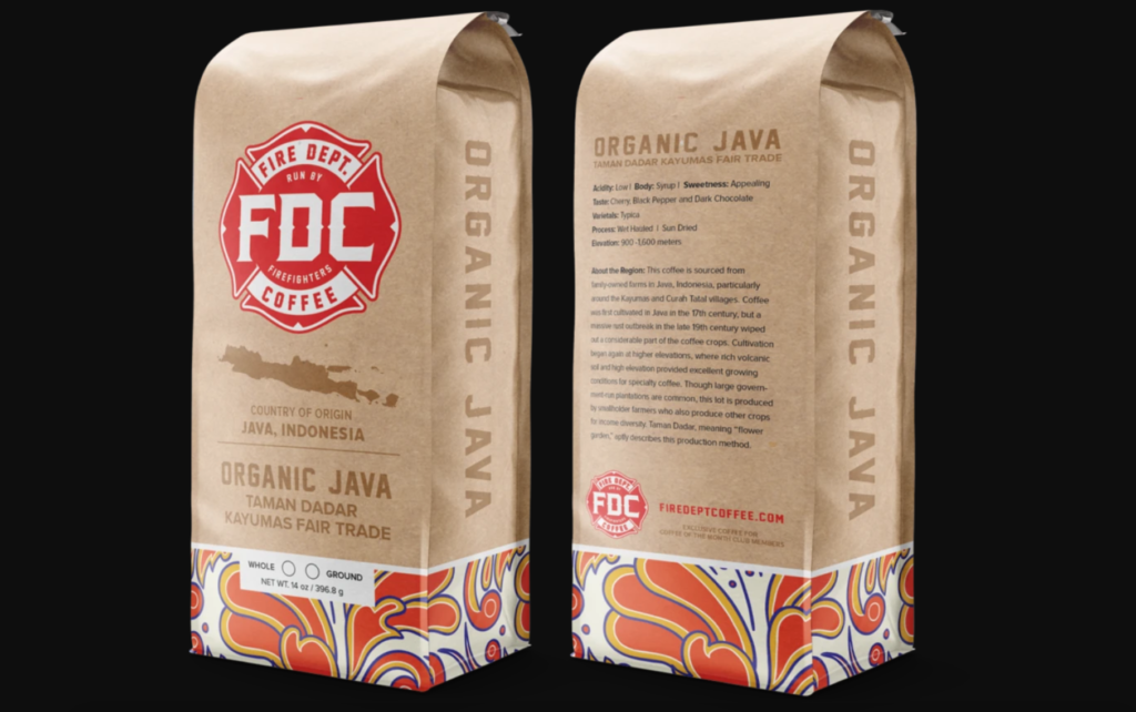 Organic coffee beens from Fire Dept. Coffee Company