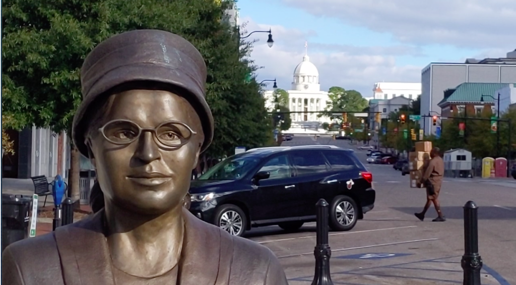 Rosa Parks statue stands waiting for the bus at Dexter Street in Montgomery, Alabama.