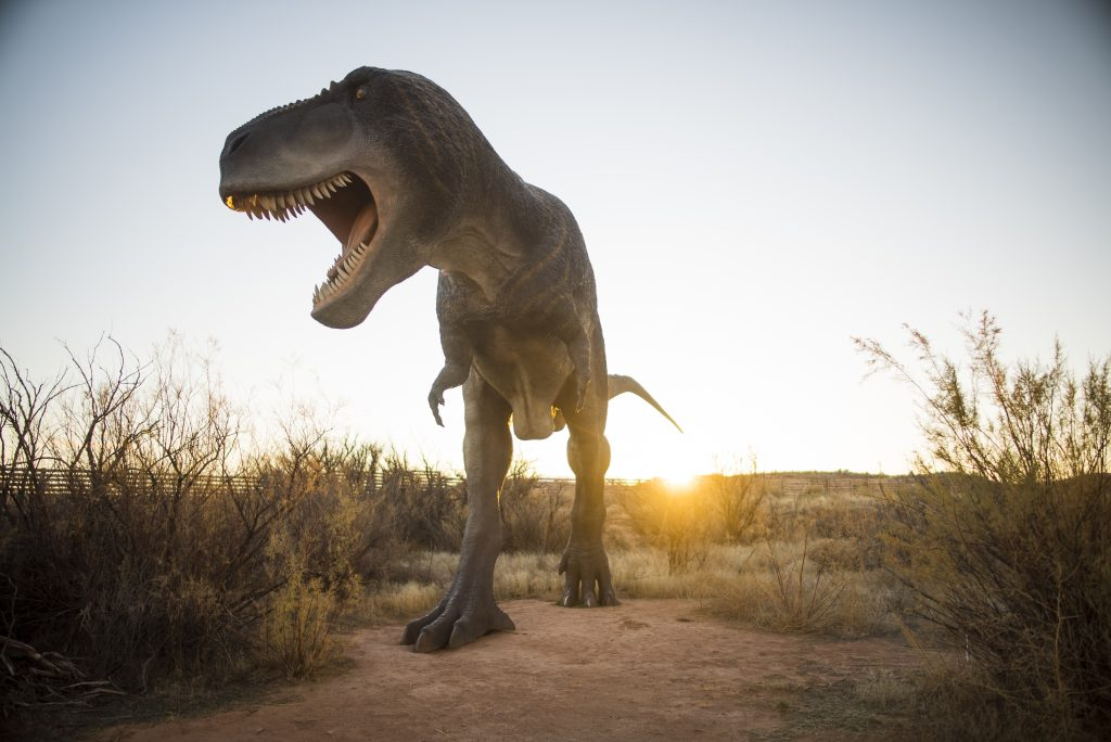 A replica T-Rex dinosaur at Moab Giants Park.