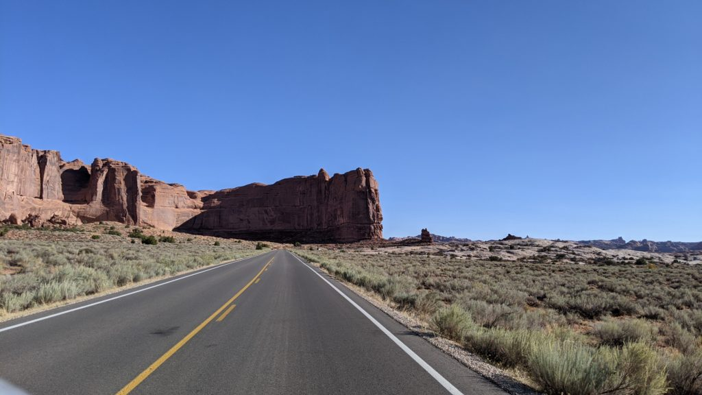 road approachng Devil's Garden in Arches National  Park