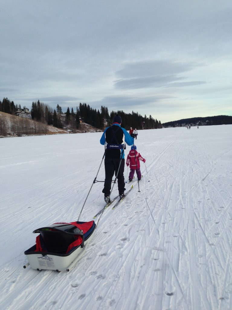Woman towing ski sled cross county skis with child.