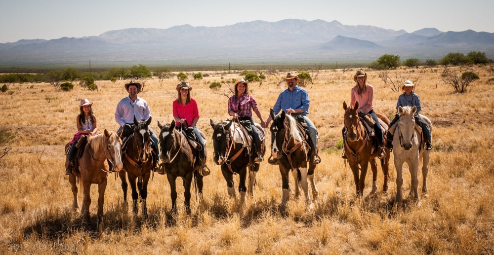 A family reunion on horseback at Elkhorn Ranch in Tucson, Arizona