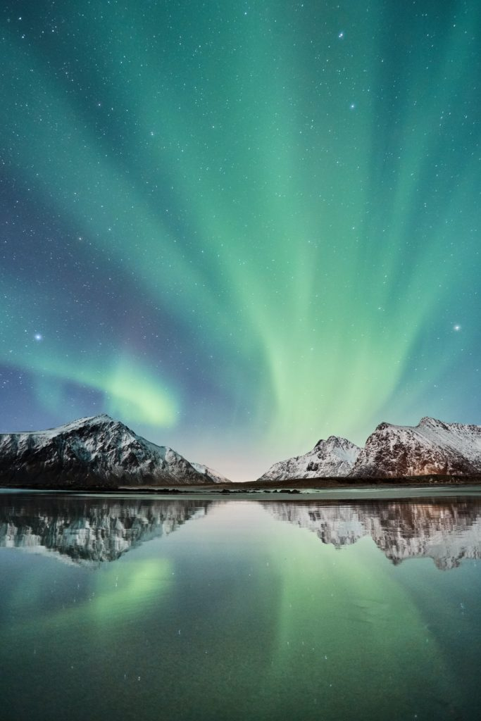 The stunning display of Northern Lights can be seen at night in Iceland.