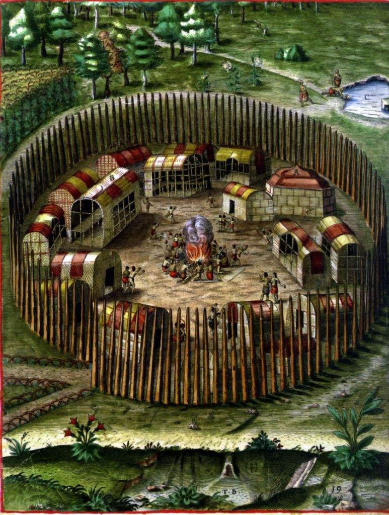 Illustration from Virtual Jamestowne about the Pomeiooc Native American Village.