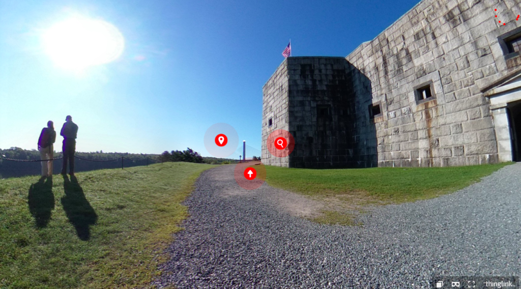 Screen of virtual tour of Fort Knox in Maine.