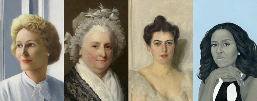 Four women's portraits from the National Portrait Gallery.