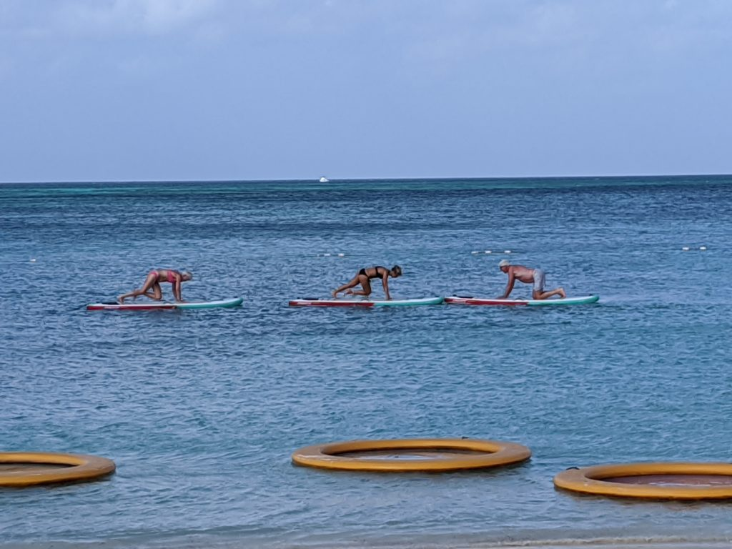 Aquarobics class on standup paddleboards off the coast of Palm Beach, Aruba.
