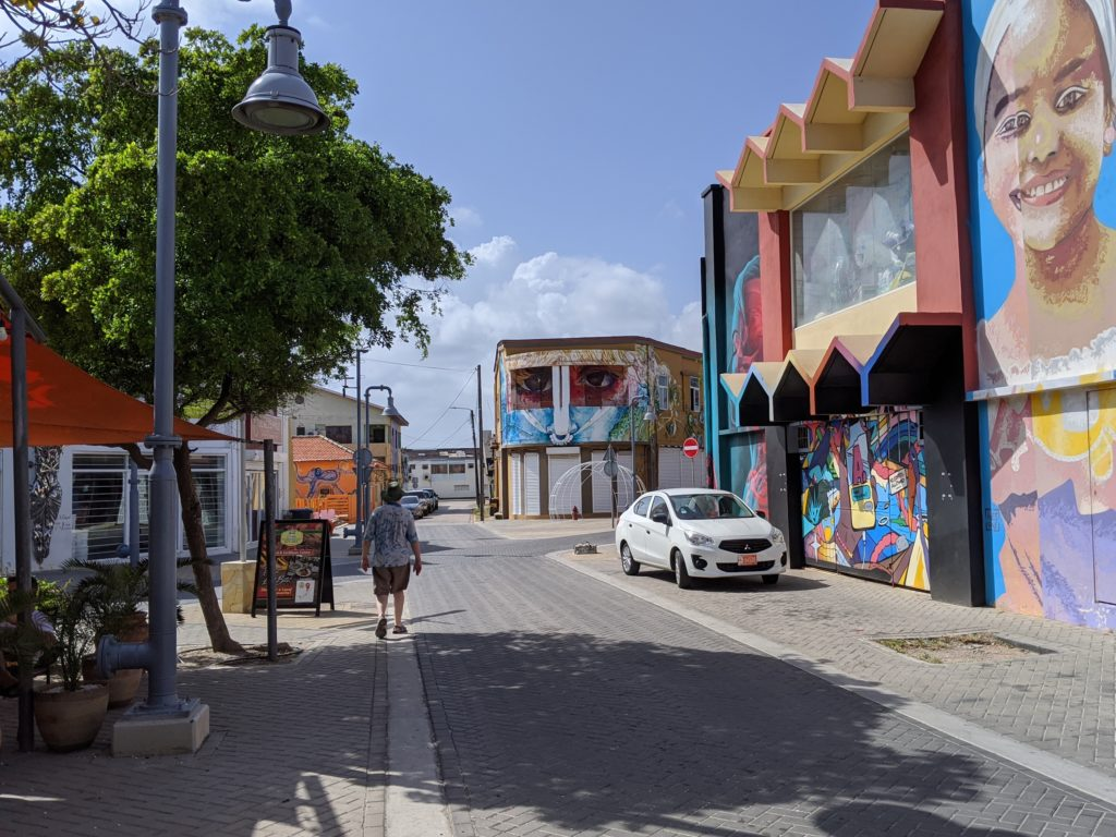 Small town of San Nicolas on Aruba is decorated with murals and street art.