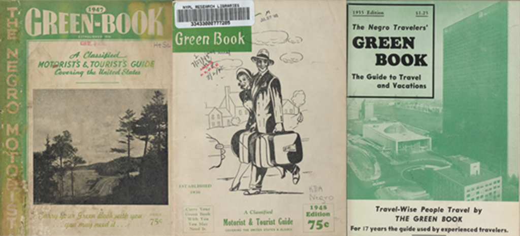 Three covers of the Negro Travelers' Green Book from the years 1947, 1948 and 1955 at the New York Public Library