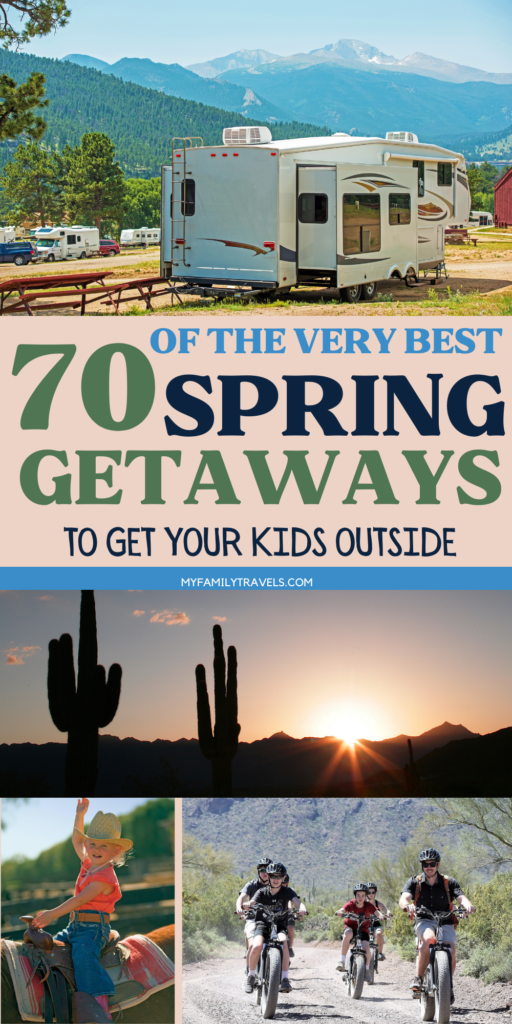 Photo montage of great outdoor getaways for spring