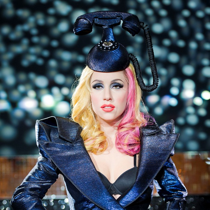 Lady Gaga wax statue in London Madame Tussaud's wears the famous Telephone Hat from designer Philip Treacy