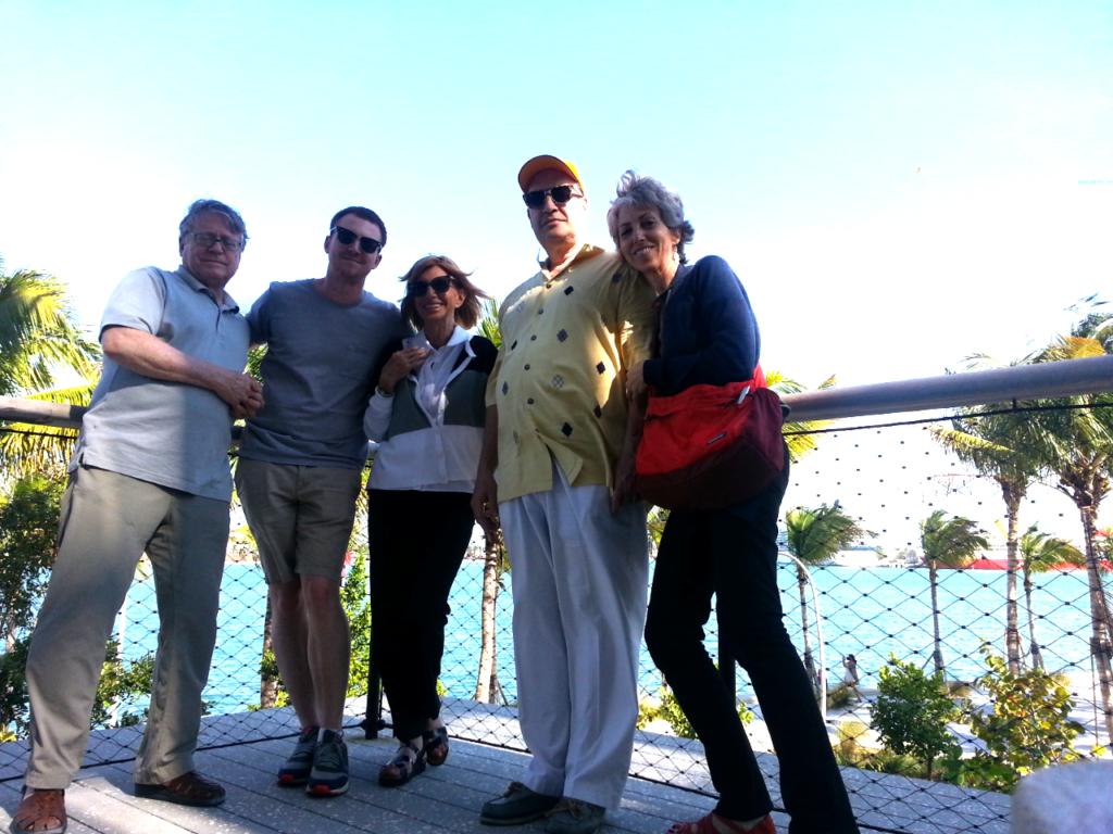 Three generations pose on balcony of the Perez Art Museum in Miami Beach.
