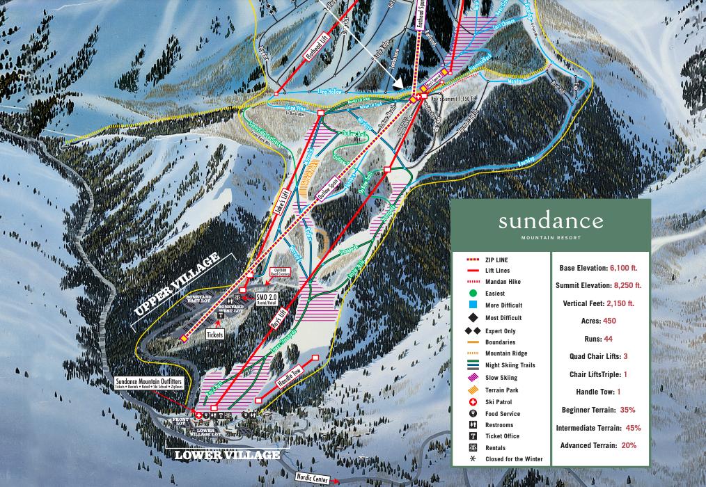 Partial ski trail map at the Sundance Mountain Resort in Utah.