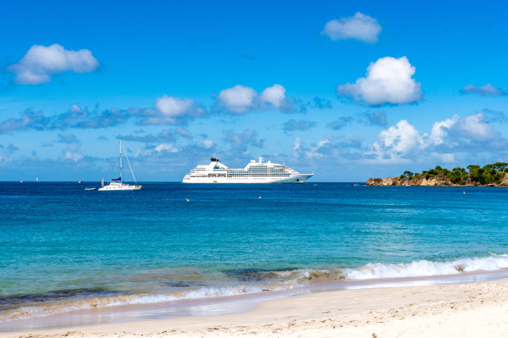 The Seabourn Odyssey moored offshore in the Caribbean.