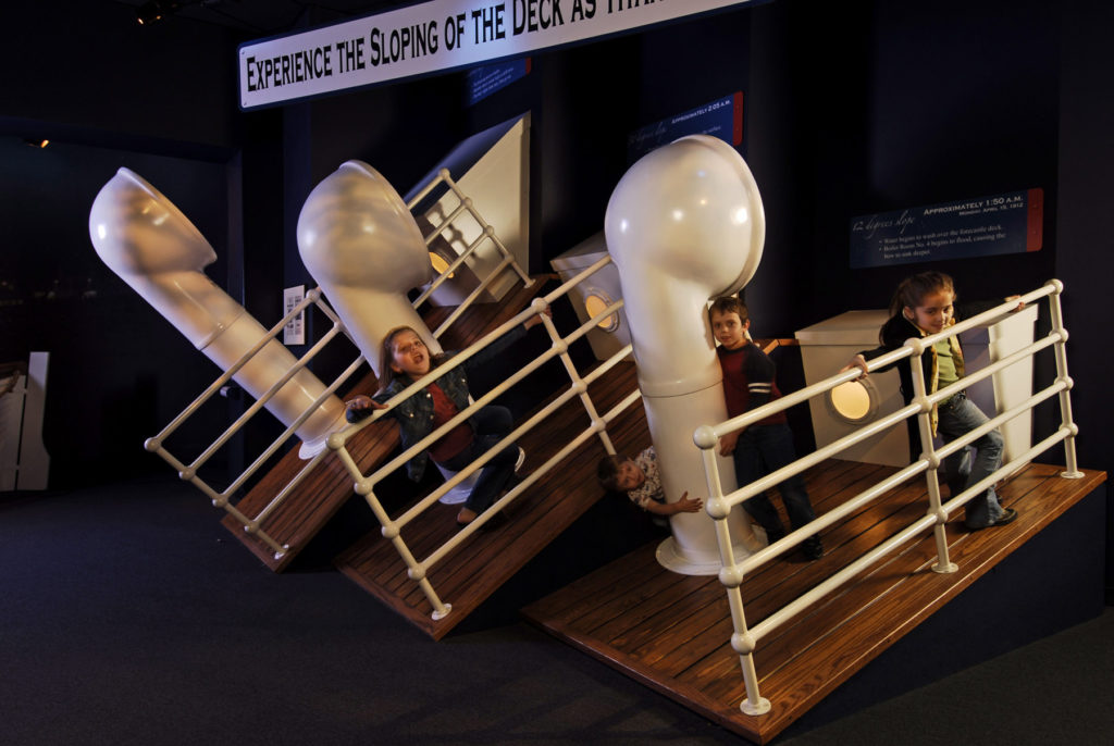Sloping deck interactive game for kids at Titanic Museum, Branson, MI