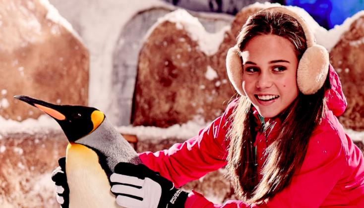 Girl inside Ski Dubai penguin habitat.