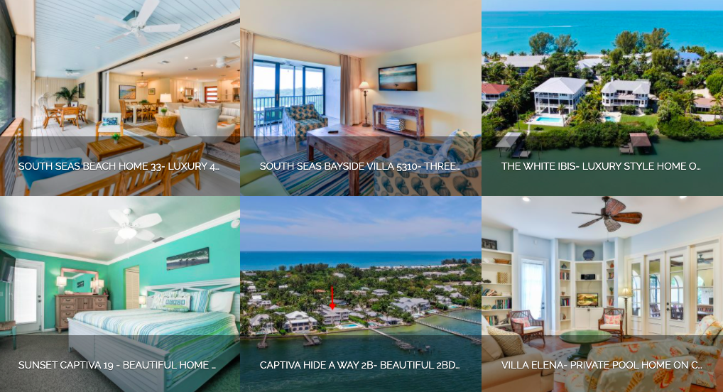 Variety of vacation homes and condos on Sanibel and Captiva Islands.