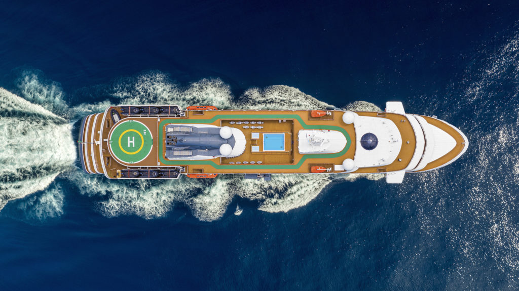 Aerial view of ship World Navigator from Atlas Ocean Voyages