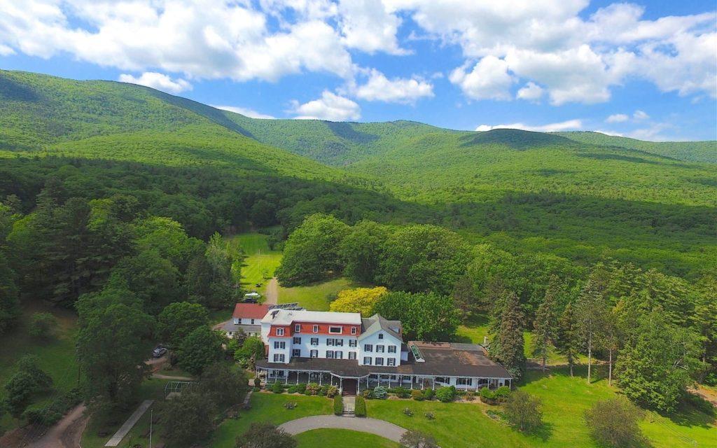 Winter Clove Inn is a Catskills Mountains resort, seen from the air.