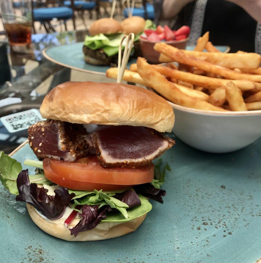 Ahi Tuna sandwich on a bun at Grille Restaurant