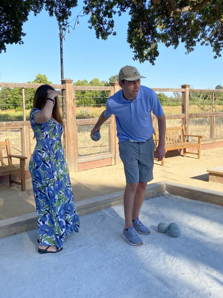 Couple play bocce ball at the CordeValle Resort in California