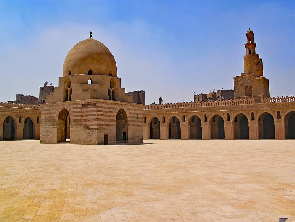 Courtyard of Ibn Tulun Mosque in Cairo, Egypt.