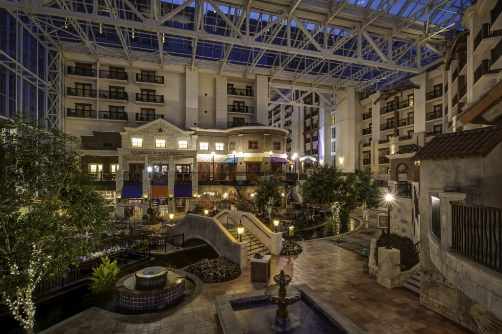 The signature atrium style lobby, themed to local environments, is the centerpiece of all Gaylord resorts.