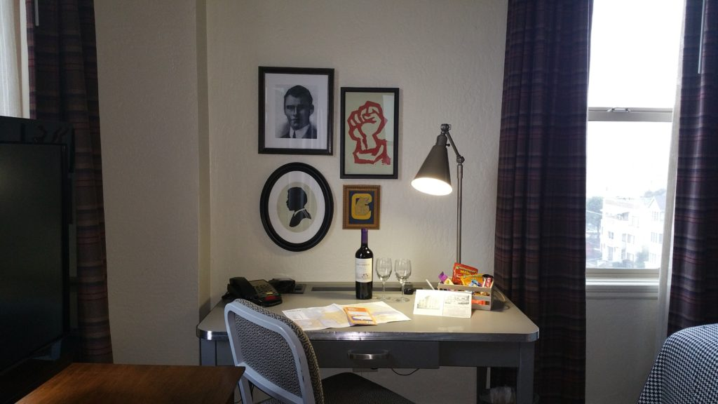 The Graduate Berkeley hotel room with UC Berkeley themed artwork.