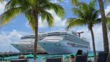 Cruise ships docked at Caribbean port