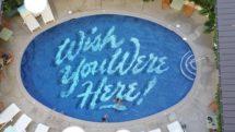 Pool bottom at Surfjack Hotel in Waikiki, Oahu, Hawaii