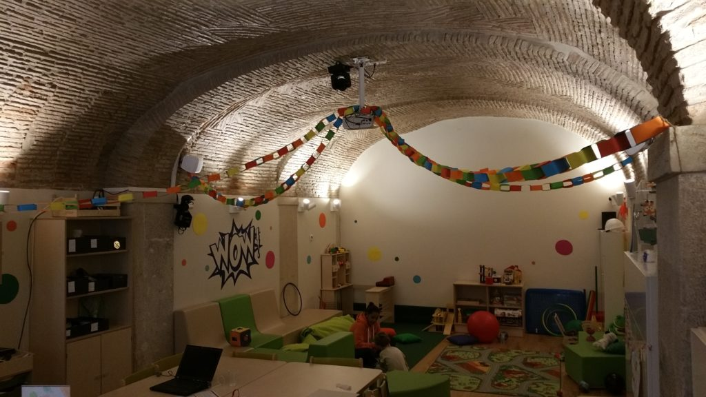 Playroom in cozy underground room at the Martinhal Hotel Chiado in Lisbon.