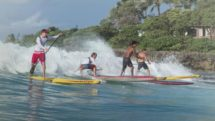 Oahu four men on standup paddleboards