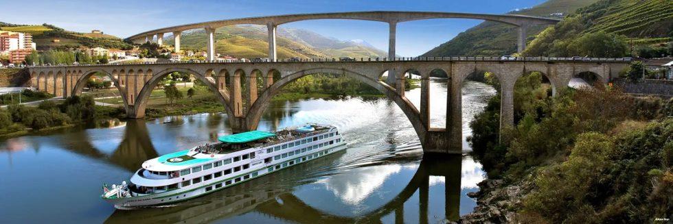 Vasco da Gama river cruise ship on the Douro River in Portugal.