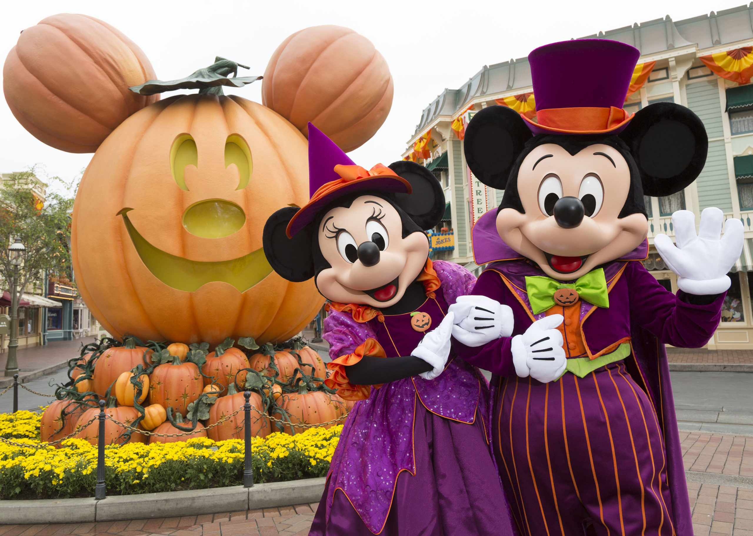 Mickey and Minnie Mouse celebrate Halloween Time at the Disneyland Resort.
