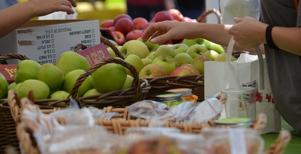 Apples sold by the basket at the Apple festival in Hendersonville, NC.